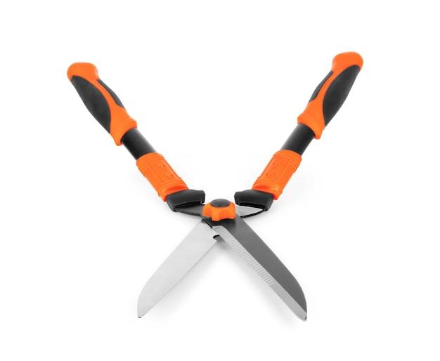 Nożyce ogrodowe na białym tle na białym tle. seria narzędzi ogrodniczych