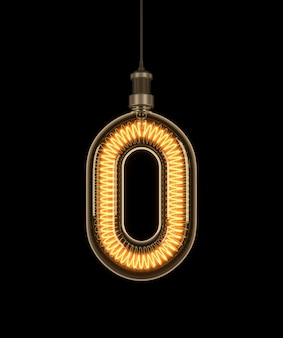 Numer 0, alfabet z żarówki.