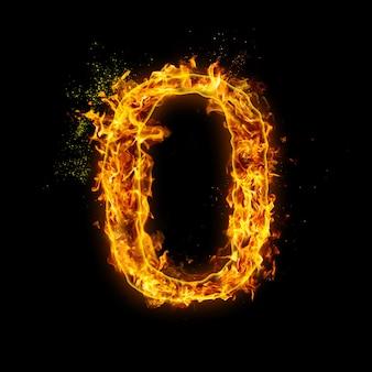 Numer 0. płomienie ognia na czarnym tle, realistyczny efekt ognia z iskrami.