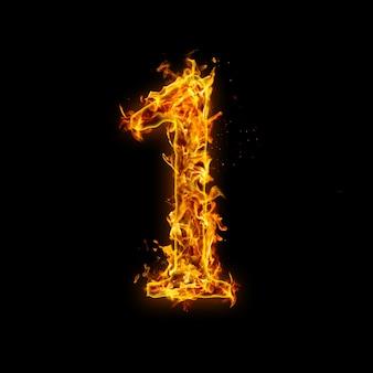 Numer 1. płomienie ognia na czarnym tle, realistyczny efekt ognia z iskrami.