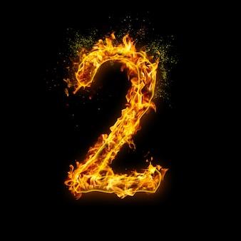 Numer 2. płomienie ognia na czarnym tle, realistyczny efekt ognia z iskrami.