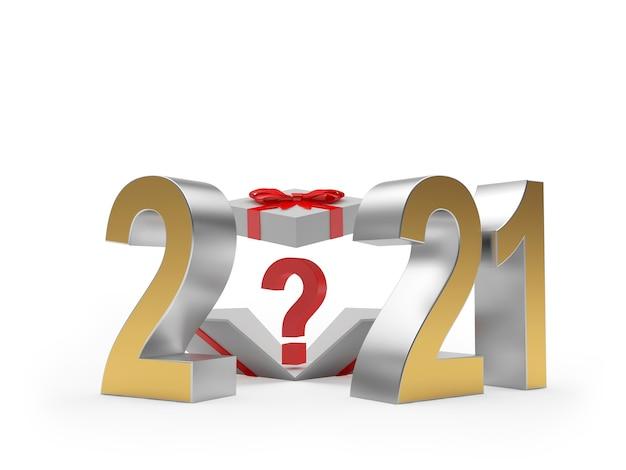 Numer 2021 i pudełko upominkowe ze znakiem zapytania