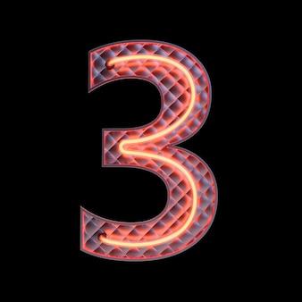 Numer 3, alfabet. neon retro numer 3d na białym tle na czarnym tle ze ścieżką przycinającą. ilustracja 3d.