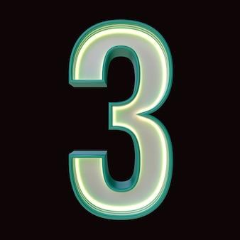 Numer 3, alfabet. retro numer 3d na białym tle na czarnym tle ze ścieżką przycinającą. ilustracja 3d.