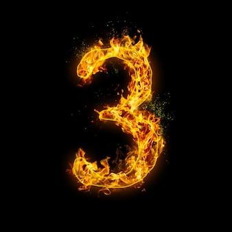 Numer 3. płomienie ognia na czarnym tle, realistyczny efekt ognia z iskrami.
