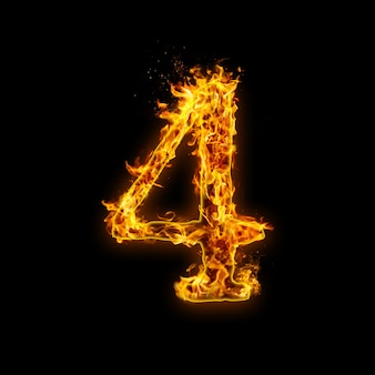 Numer 4. płomienie ognia na czarnym tle, realistyczny efekt ognia z iskrami.