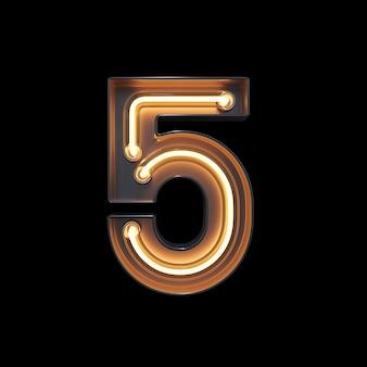 Numer 5, alfabet wykonany z neon light
