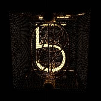 Numer 5 wskaźnik nixie tube renderowanie jakości zbliżenie renderowanie 3d w stylu retro