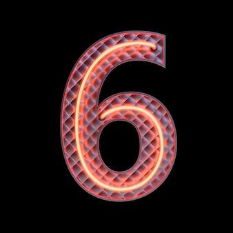 Numer 6, alfabet. neon retro numer 3d na białym tle na czarnym tle ze ścieżką przycinającą. ilustracja 3d.