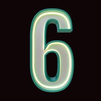 Numer 6, alfabet. retro numer 3d na białym tle na czarnym tle ze ścieżką przycinającą. ilustracja 3d.