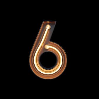 Numer 6, alfabet wykonany z neon light