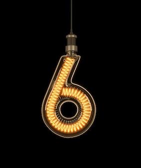 Numer 6, alfabet z żarówki.