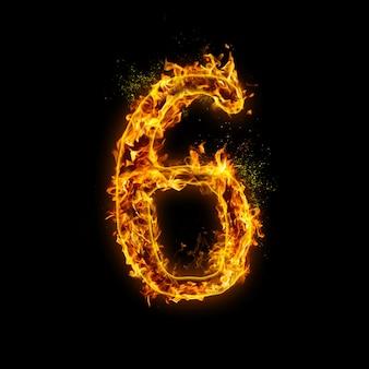 Numer 6. płomienie ognia na czarnym tle, realistyczny efekt ognia z iskrami.
