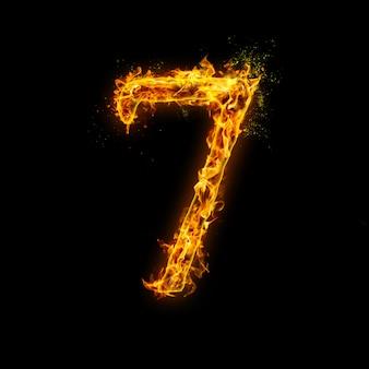 Numer 7. płomienie ognia na czarnym tle, realistyczny efekt ognia z iskrami.
