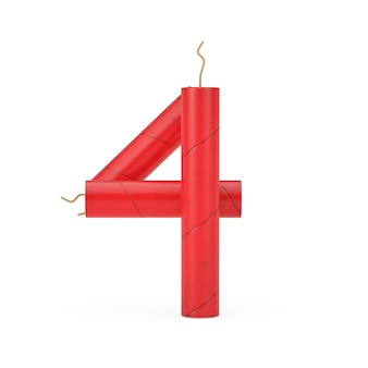 Numer cztery lub 4 jako kolekcja liczb alfabetu laski dynamitu na białym tle. renderowanie 3d