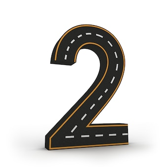 Numer dwa symbole figur w formie drogi