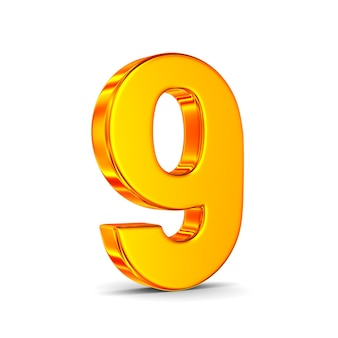 Numer dziewięć na białym tle