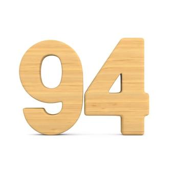 Numer dziewięćdziesiąt cztery na białym tle. ilustracja na białym tle 3d