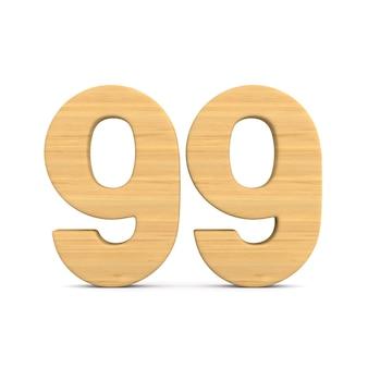 Numer dziewięćdziesiąt dziewięć na białym tle. ilustracja na białym tle 3d