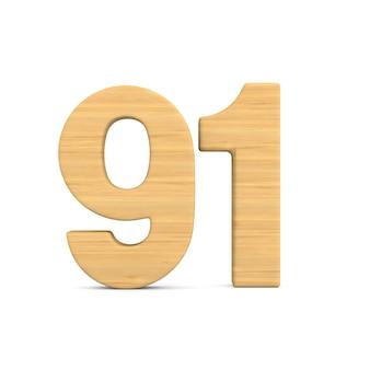 Numer dziewięćdziesiąt jeden na białym tle. ilustracja na białym tle 3d