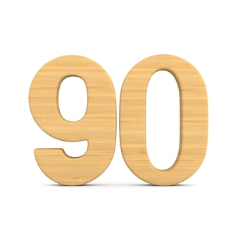 Numer dziewięćdziesiąt na białym tle. ilustracja na białym tle 3d