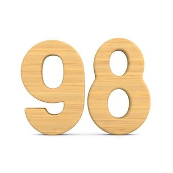 Numer dziewięćdziesiąt osiem na białym tle. ilustracja na białym tle 3d