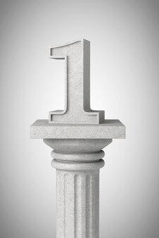 Numer jeden nad klasyczną kolumną na betonowym tle