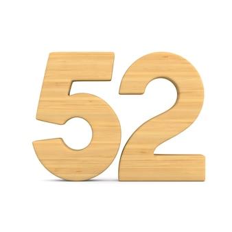 Numer pięćdziesiąt dwa na białym tle.
