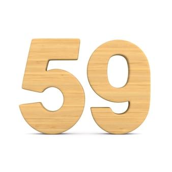 Numer pięćdziesiąt dziewięć na białym tle.