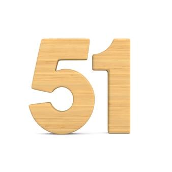 Numer pięćdziesiąt jeden na białym tle.