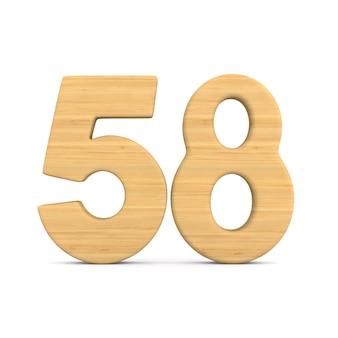 Numer pięćdziesiąt osiem na białym tle.