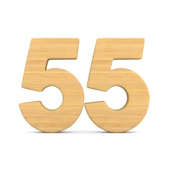 Numer pięćdziesiąt pięć na białym tle.