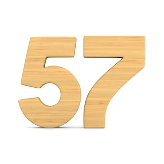 Numer pięćdziesiąt siedem na białym tle.
