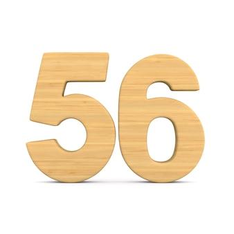 Numer pięćdziesiąt sześć na białym tle.