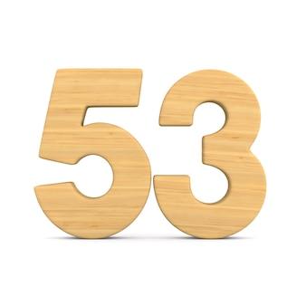 Numer pięćdziesiąt trzy na białym tle.