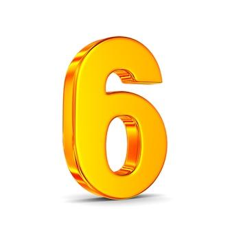 Numer sześć na białej przestrzeni