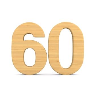 Numer sześćdziesiąt na białym tle.
