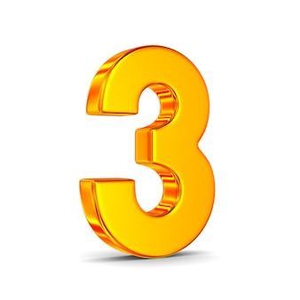 Numer trzy na białej przestrzeni