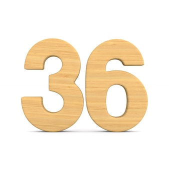 Numer trzydzieści sześć na białym tle