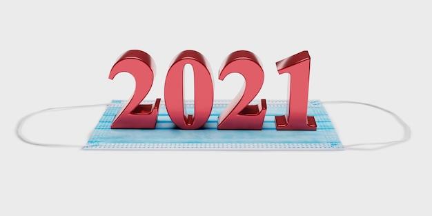 Numery nowego roku 2021 znajdują się na masce medycznej