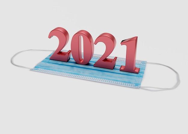 Numery noworoczne znajdują się na masce medycznej