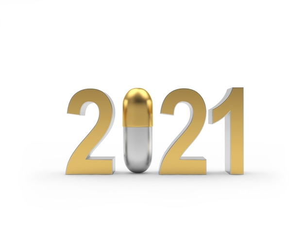 Numery nowy rok ze złotą kapsułką medyczną