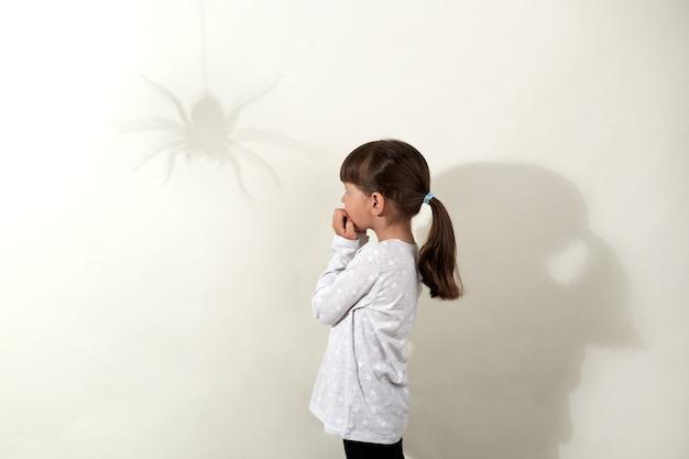 Obawy z dzieciństwa. widok z boku małej ciemnowłosej dziewczyny w białej koszuli na co dzień bojącej się owadów, patrzący na cień pająka na ścianie i obgryzający paznokcie, na białym tle nad szarą ścianą.