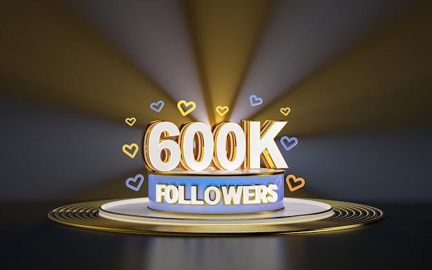 Obchody 600k obserwujących dziękuję banerowi w mediach społecznościowych z podświetlanym złotym tłem renderowania 3d