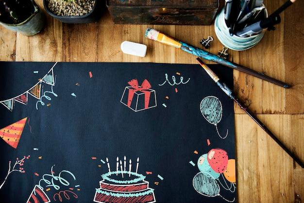 Obchody urodzinowe niespodzianka wydarzenia ikona i słowo