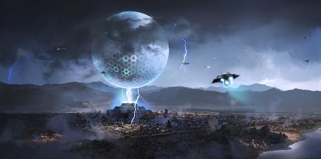 Obcy statek kosmiczny pojawił się nad starożytnymi miastami, ilustracja science fiction.