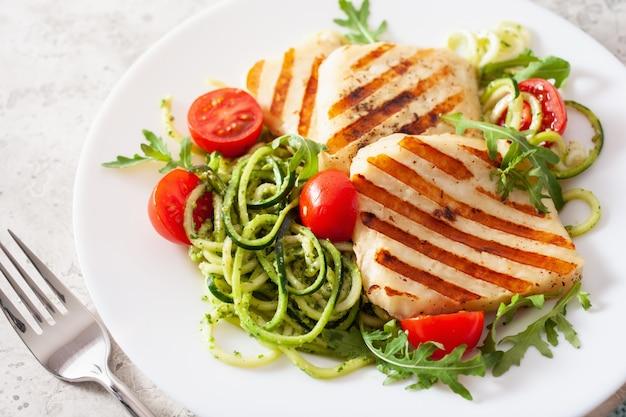 Obiad z dietą ketogeniczną paleo. ser halloumi, spirala cukinii z pesto z rukoli i pomidorów