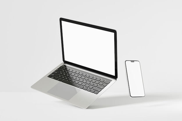 Obiekt renderowania ilustracji 3d. laptop kolor srebrny i czarny z mobilny pusty ekran smartfona.