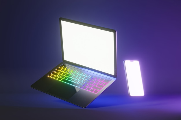 Obiekt renderowania ilustracji 3d. laptop kolor srebrny i czarny z smartphone mobilny pusty ekran w niebieskim różowym jasnym kolorze tła.