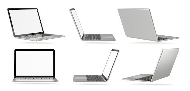 Obiekt renderowania ilustracji 3d. laptop komputer srebrny i czarny kolor z pustego ekranu na białym tle. obraz ścieżki przycinającej.